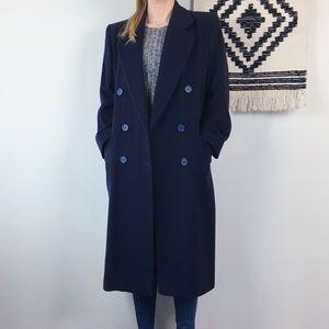 80s VTG Navy Wool Overcoat 100% Camel Hair~L/XL